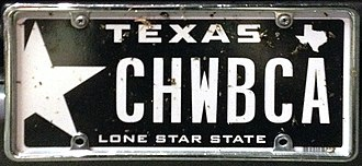 Vanity plate - A vanity plate in Amarillo, Texas, referencing the Star Wars character Chewbacca