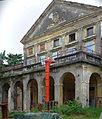 2014 giu Villa Pellegrini Marioni Pullè, Chievo, Verona, photo Paolo Villa facade, Doric - Tuscan and Ionic order, porch, pilaster strip, triangualar and circular tympanum, window, corbel, balcony, coat-of-arms FOTO6315BIS.jpg