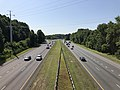 2019-07-25 09 46 06 View south along Interstate 97 (Patuxent Freeway) from the overpass for Waterbury Road in Waterbury, Anne Arundel County, Maryland.jpg