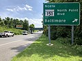 2020-08-05 14 46 10 View south along Maryland State Route 157 (Merritt Boulevard) at the exit for Maryland State Route 151 NORTH (North Point Boulevard, Baltimore) in Dundalk, Baltimore County, Maryland.jpg