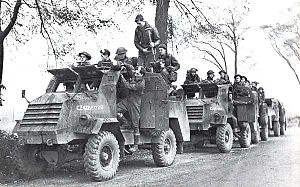 2nd Canadian Division during World War II - Forces of the Royal Hamilton Light Infantry, part of the 2nd Canadian Infantry Division, move towards South Beveland during the Battle of the Scheldt, October 1944