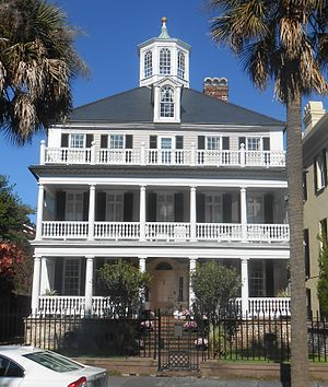 Col. John Ashe House -  The John Ashe House at 32 South Battery, Charleston, South Carolina