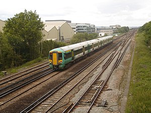 Tinsley Green, West Sussex - A Southern train passes the site of the former Tinsley Green station