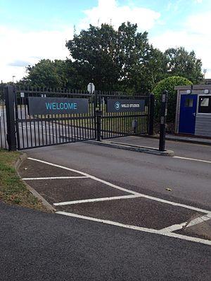 3 Mills Studios - Entrance gate to 3 Mills Studios in August 2016