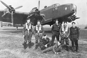 No. 466 Squadron RAAF - A No. 466 Squadron Halifax B.III with its crew after their return from a raid on Germany in January 1944