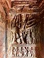 7th century Trivikrama, Vishnu avatar Vamana legend in Cave 2, Badami Hindu cave temple Karnataka.jpg