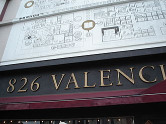 826 Valencia - 826 Valencia sign under a mural designed by cartoonist Chris Ware