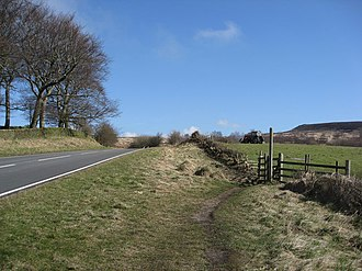 A625 road - Image: A625 View and bridleway to White Edge geograph.org.uk 748587