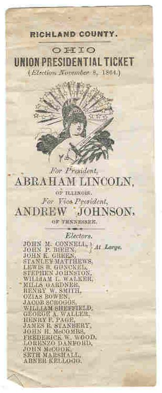 Richland County, Ohio - The Republican Party called itself the Union Party in 1864 and gave out this ballot for supporters to vote for Abraham Lincoln.