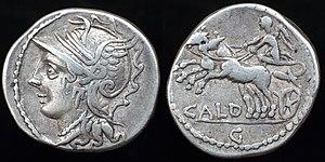 Gaius Coelius Caldus - Silver denarius struck by Gaius Coelius Caldus in Rome 104 BC.