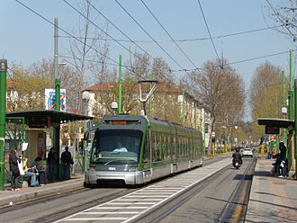 Azienda Trasporti Milanesi - A 7000 series low-floor articulated streetcar (Eurotram), on line 15.