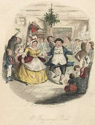 Time travel - Mr. and Mrs. Fezziwig dance in a vision shown to Scrooge by the Ghost of Christmas Past.