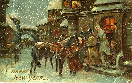 A Happy New Year, Dickens era image of the holidays (NBY 4077)