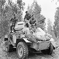 A Humber Mk II armoured car and crew of 'B' Squadron, 11th Hussars, Tripoli, 2 February 1943. E22008.jpg