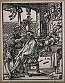 A barber cutting a man's hair. Woodcut. Wellcome V0019665ER.jpg