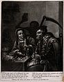 A man and a woman are counting their money with Death watchi Wellcome V0042122.jpg