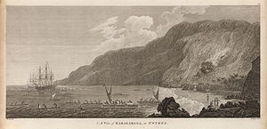 Paddleboarding - A view of Karakokooa, in Owyhee by John Webber
