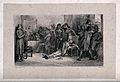 A young man sinks deadly wounded from his chair, his pistol Wellcome V0041590.jpg