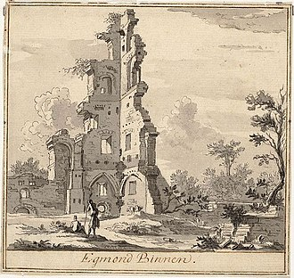 Egmond Abbey - Egmond Abbey ruins, 1725