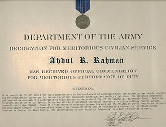 Meal, Ready-to-Eat - Meritorious Civilian Service Award presented to Dr Abdul Rahman, father of the modern day MRE