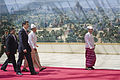Abhisit Thai delegation walks with Thein Sein.jpg