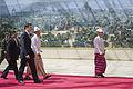 Abhisit Thai delegation walks with Thein Sein.jpg