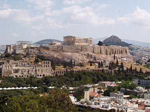 Ancient Greek architecture - The Acropolis, Athens, is high above the city on a natural prominence.