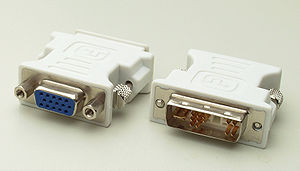 Digital Visual Interface - A passive DVI-to-VGA adapter. This adapter will not work with a DVI-D output. It requires a DVI-I or DVI-A output to get the analog signal to a VGA input (even if the adapter looks like a DVI-D). A more expensive active adapter (or converter) is required to connect DVI-D to VGA.