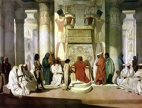 Joseph Interprets The Dream Of Pharaoh 19th Century Painting By Jean Adrien Guignet