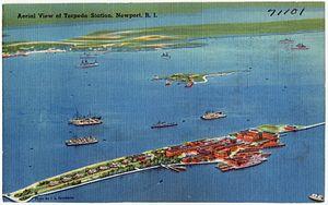 Naval Undersea Warfare Center - Postcard aerial view of Goat Island