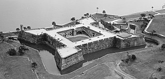 Castillo de San Marcos - Aerial view photo taken from northwest. Although the fort had a water-filled moat at the time, it was originally a dry moat.