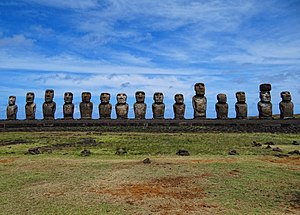 Moai - All fifteen standing moai at Ahu Tongariki.