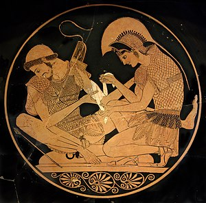 Patroclus - A cup depicting Achilles bandaging Patroclus' arm, by the Sosias Painter.