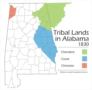 Treaty of Cusseta - Creek land ceded by the Treaty of Cusseta is shaded in blue.