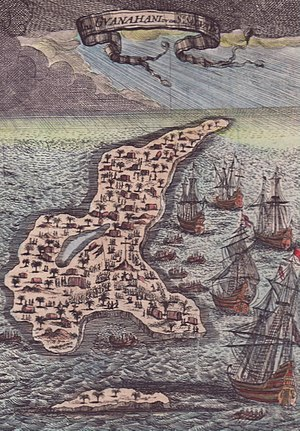Guanahani - This page from Mallet's five-volume world atlas shows the islet of Guanahani, which is part of San Salvador, the site of Columbus' first landing in 1492