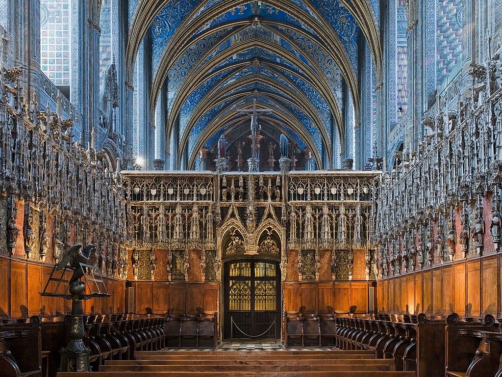 Chœur et jubé de style gothique flamboyant de la cathédrale Sainte-Cécile d'Albi (France). (définition réelle 3192×2394)