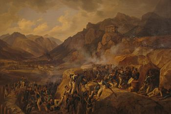 Blue-coated troops attack a fortified position while a mountain looms on the horizon