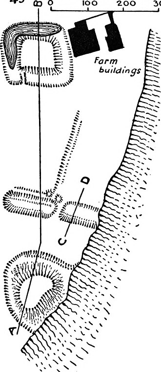 Aldingham - The eroded remains of Aldingham Motte (bottom of image)