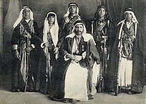 Anazzah - Post-card of Emir Mejhem ibn Meheid, chief of the Anaza tribe near Aleppo with his sons after he was decorated with the Croix de Légion d'honneur on 20 September 1920 by General Gouraud