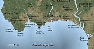 Siege of Algeciras (1369) - Region around Al-Hadra Al-Yazirat. North is to the right of this map.