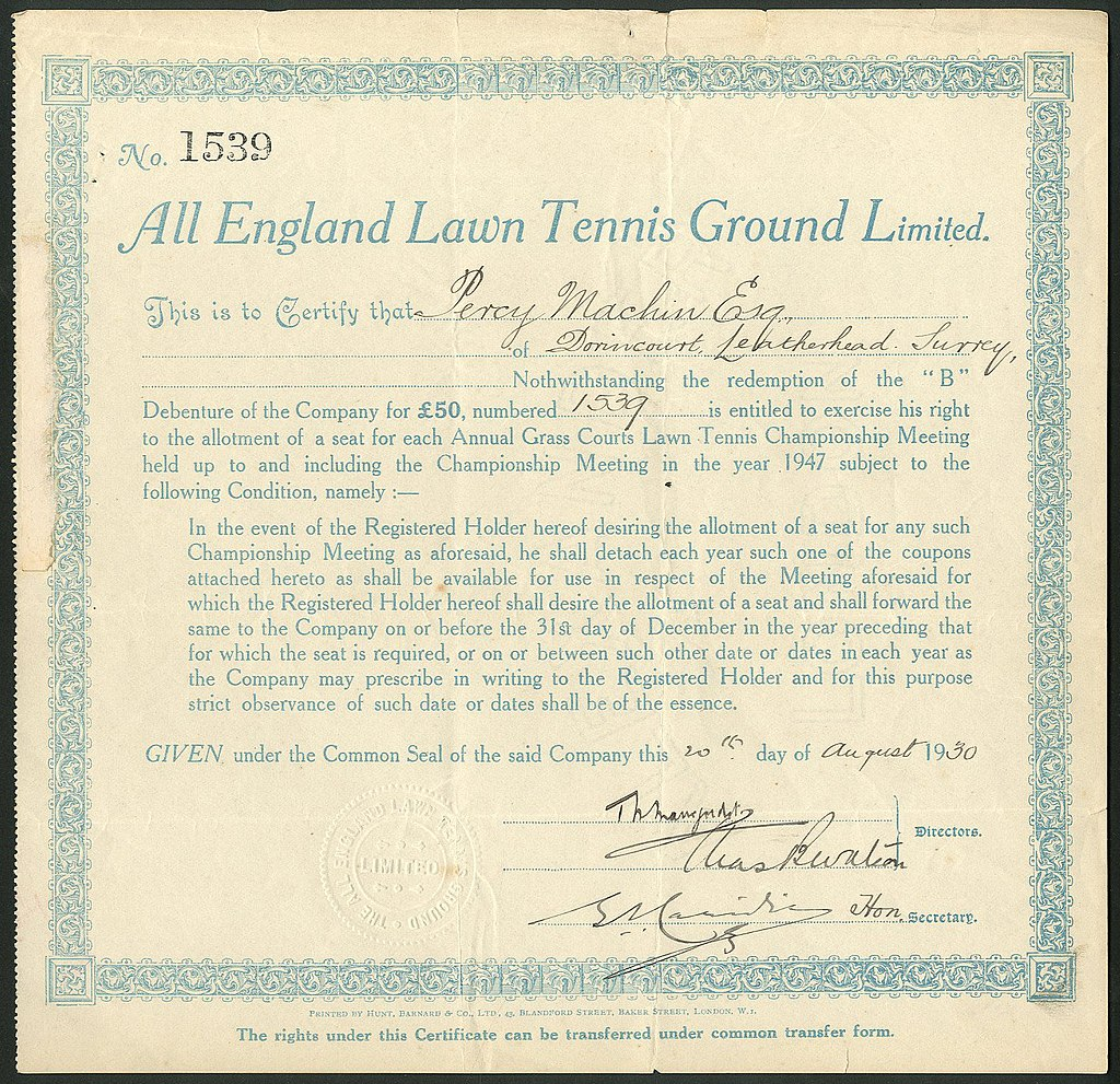 All England Lawn Tennis Ground Ltd 1930
