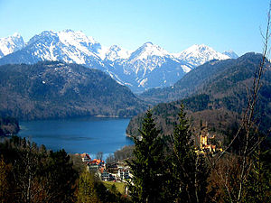 Alpsee - View from Neuschwanstein castle, with Schloss Hohenschwangau visible in the lower right