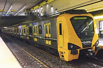 Buenos Aires Underground 300 Series - A 300 Series train on Line H undergoing tests before its introduction.