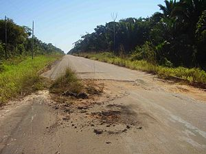 BR-319 - Pothole on the paved section