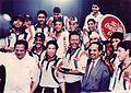 Ambassador MPM Menon and the Indian Cricket Team, Sharjah, 1998.jpg