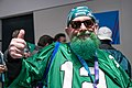 An Eagles fan gives the thumbs up at Super Bowl LII, Minneapolis MN (25244434657).jpg