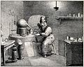An alchemist wearing a tall hat, sitting at a table containi Wellcome V0025562.jpg