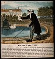 An old man walks with the aid of a stick and a visor to prot Wellcome V0015873.jpg