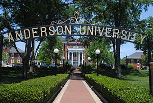 Anderson University (South Carolina) - Front view of Anderson University and the Merritt Administration Building