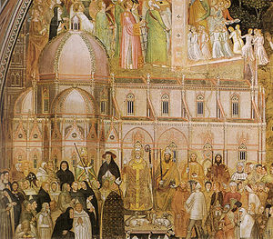 Florence Cathedral - The Duomo, as if completed, in a fresco by Andrea di Bonaiuto, painted in the 1360s, before the commencement of the dome